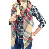 "60"" Multi Color Plaids Checks Square Scarf"
