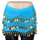 Chiffon Belly Dance Scarf with 158 Gold Coins