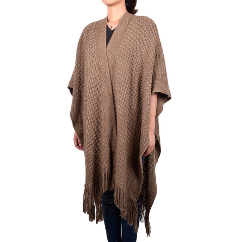 Solid Winter Shawl with Zigzag Trim