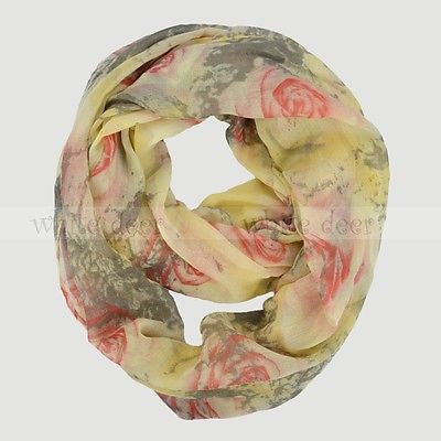 "64"" Rose Floral Infinity Scarf"