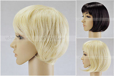 Women's Short Brown Blonde Curly Wavy Full Wigs Hair Party High Quality Fashion
