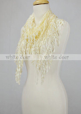 "62"" Melon Seed Triangle Lace Scarf"