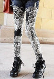 Black White Floral Print Leggings