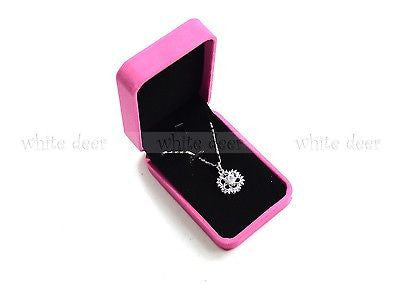 High Quality Pink Velvet Necklace Pendant Gift Long Box Case Jewelry Display