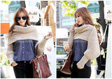 "96"" Long Solid Color Knit Sleeve Winter Scarf"