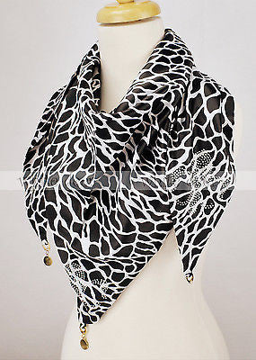 "BULK/LOT SALE - 62"" Giraffe Print Fluer De Lis Scarf BUYING ALL ONLY"