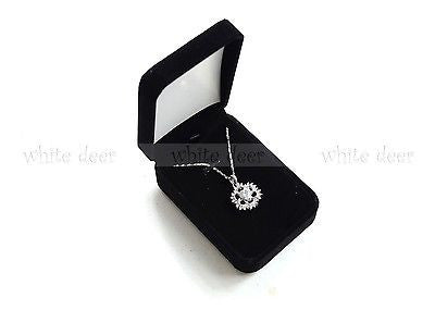 High Quality Black Velvet Necklace Pendant Gift Long Box Case Jewelry Display