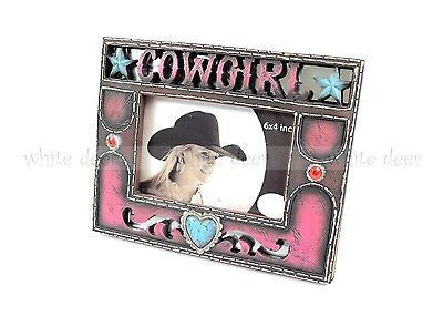4 x 6 Western Cowgirl Photo Frame Turquoise Heart Star Ruby Pink Leather Texture
