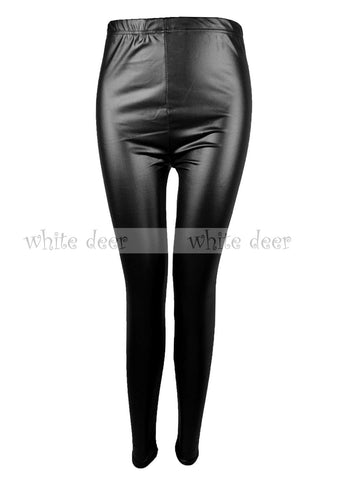 Black Leather Texture Leggings