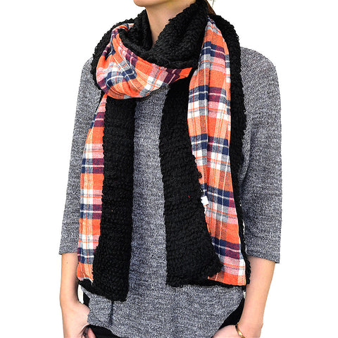 "80"" Plaids Checks Double Layer Warm Scarf"