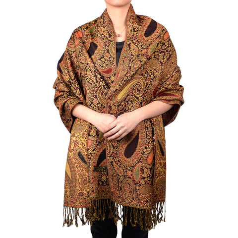 Paisley Floral Pashmina gold/silver tear