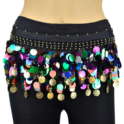 Multi-color Sequin Belly Dance Scarf - Gold Coins