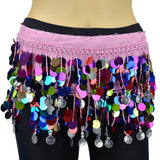 Multi-color Sequin Belly Dance Scarf - Silver Coins