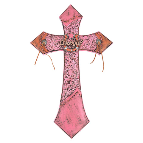 "18"" Cowgirl Pink Wall Cross"