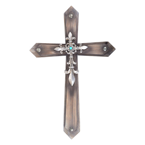 "21"" Fleur De Lis Wood Wall Cross"