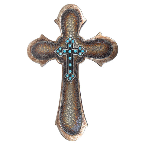 "17"" Brown Broken Glass Turquoise Beads Wall Cross"