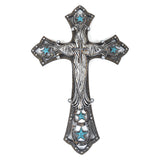 "17"" Turquoise Star Zebra Wall Cross"