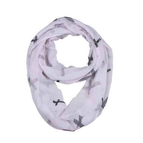 "68"" Big Cross White Infinity Scarf"