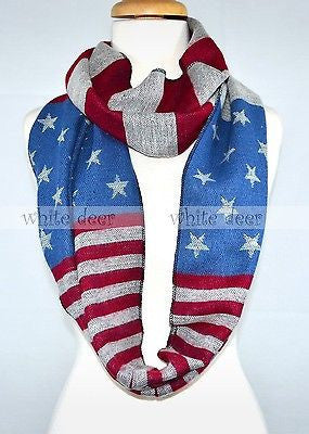 "70"" Thick American Flag Infinity Scarf"