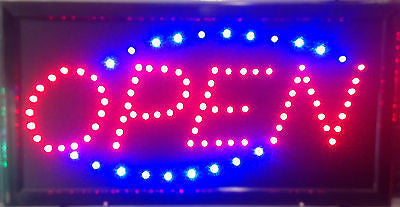 Animated Led Neon Light OPEN Sign Switch Chain Running Blue Motion Control