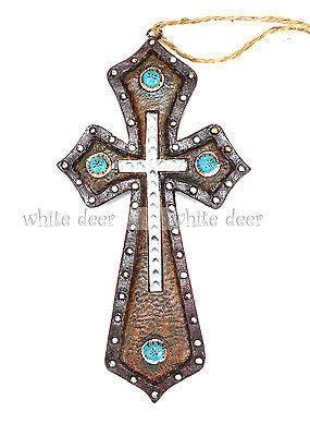 "6"" Leather Turquoise Stone Wall Cross"