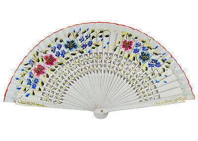 12 PCS Oil Paint Flower Bamboo Hand Fan