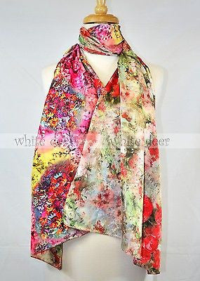 "68"" Double Floral Silk Scarf Wrap"