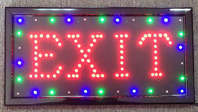 US Seller Popular Animated Led Neon Light EXIT Open Sign Switch/Chain