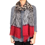 "BULK/LOT SALE - 72"" Leopard Lace Print Scarf with Solid Ends BUYING ALL ONLY"
