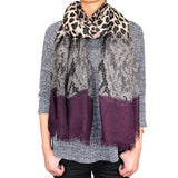 "72"" Leopard Lace Print Scarf with Solid Ends"