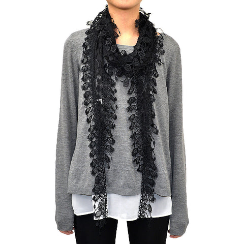 Lace Scarf with Polka Dot Print & Fishnet Fringe