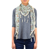 "65"" Floral Triangle Lace Scarf"