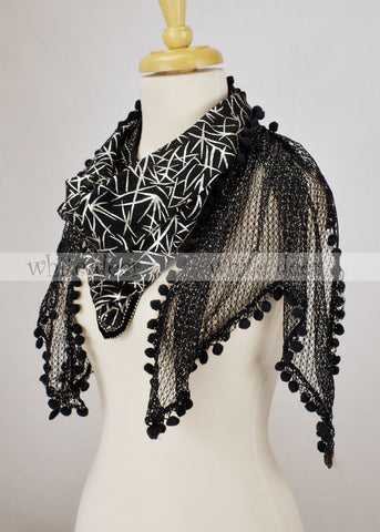 "76"" Glitter Fishnet Double Layer Scarf"
