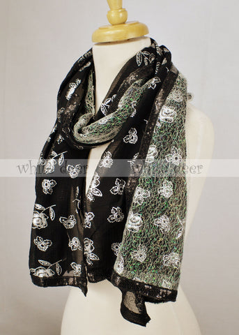 "64"" Glitter Floral Double Layer Scarf"