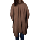 Thick Solid Winter Shawl Cape with Fur