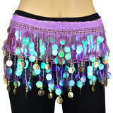 Milky Sequines Belly Dance Scarf - Gold Coins