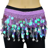 Milky Sequines Belly Dance Scarf - Silver Coins