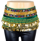 Velvet Belly Dance Scarf with Gold Coins, Gemstone, Sequins Band