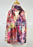 "68"" Double Floral Silk Scarf"