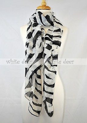 "72"" Long Zebra Scarf"
