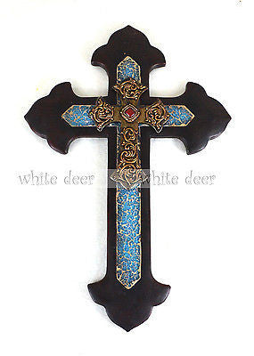 "15"" Ruby Floral Wall Cross"
