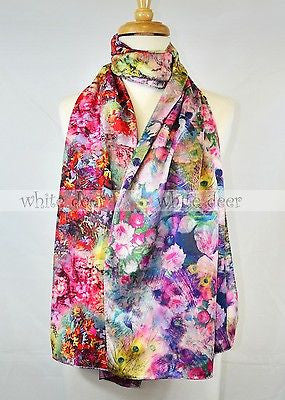 "68"" Double Floral Peacock Silk Scarf"