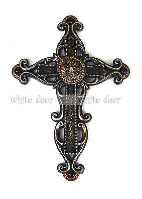 "14"" Floral Carving Wall Cross"