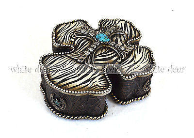 Cross Jewelry Box Zebra Print Pink Horseshoe Lone Star Turquoise Floral Carving