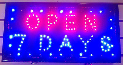 US Seller Popular Animated Led Neon Light 7 DAYS OPEN Sign Switch/Chain