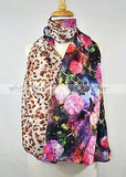 "68"" Double Floral Leopard Silk Scarf"