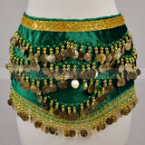 Velvet Belly Dance Scarf wiht Band Gold Coins