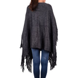 Solid Color Fringed Poncho