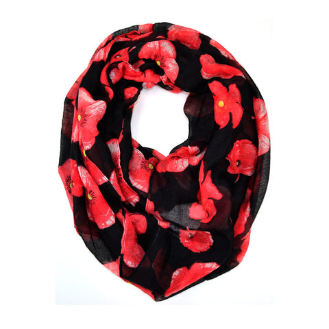 "64"" Poppy Floral Print Infinity"
