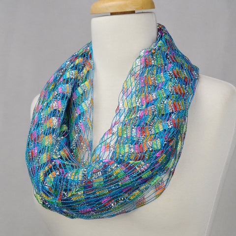 "66"" Crochet Multi Color Infinity Scarf"